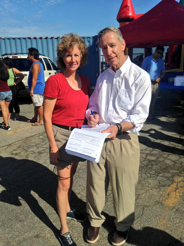 MNA Executive Director Julie Pinkham with U.S. Rep. Stephen Lynch, D-South Boston. Julie was collecting signatures for the Fair Share Campaign at ChowdaFest in Quincy.